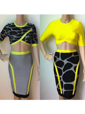 The Multi color 2 piece bandage dress