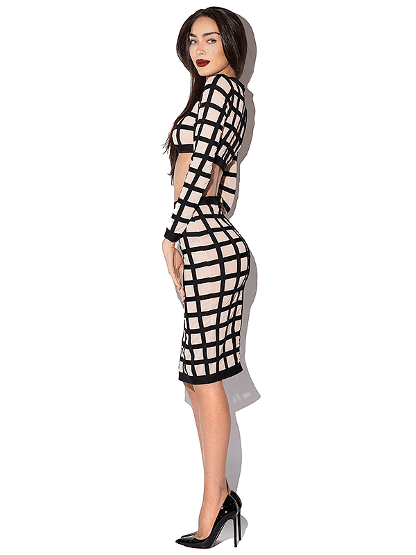 The Sienna Nude Sexy Mesh Bandage Dress