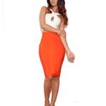 The White Orange Cross Crop Bandage Skirt Set
