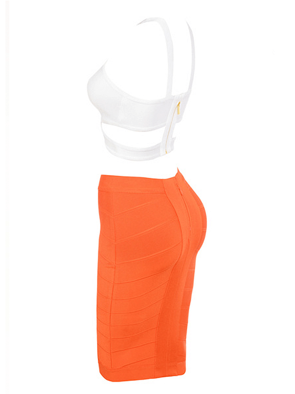 The White Orange Cross Crop Bandage Skirt Set